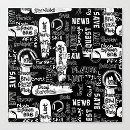Gamer Lingo-Black and White Canvas Print