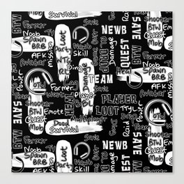 Gamer Lingo-Black and White Canvas Print