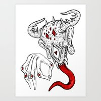 devil Art Prints featuring devil by Ichsjah