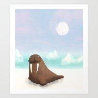 walrus Art Prints featuring Walrus. by Caleb Boyles