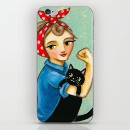 "Rosie the Riveter with Black Cat ""We can do it"" painting by Tascha iPhone Skin"