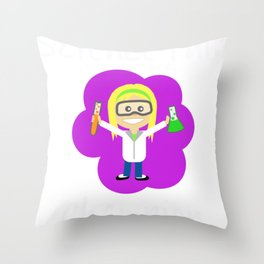 Science Fair Champion Blond Girl Scientist Throw Pillow