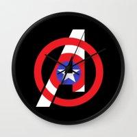 avenger Wall Clocks featuring Captain Avenger by foreverwars