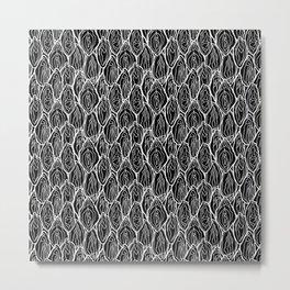 Vagina - Rama, Black with white outlines Metal Print