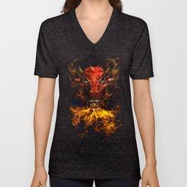 Digital dragon head, red skin and green eyes Unisex V-Neck