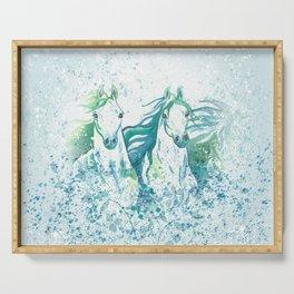Two Arabian Horses in Watercolor Serving Tray
