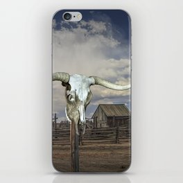 Steer Skull and Western Fenced Corral iPhone Skin