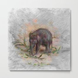 Artistic Animal Baby Elephant Metal Print