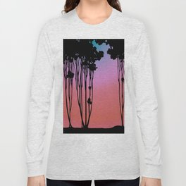 Forest Silhouette Sherbet Sunset by Seasons K Designs for Salty Raven Long Sleeve T-shirt