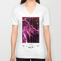 chandelier V-neck T-shirts featuring chandelier by riz lau