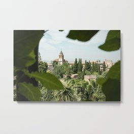 Landscape of the Alhambra from the branches Metal Print