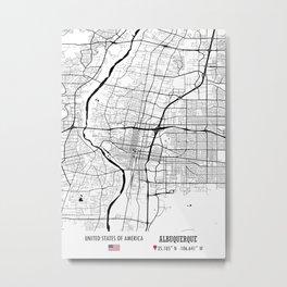Albuquerque, USA Road Map Art - Earth Tones Metal Print