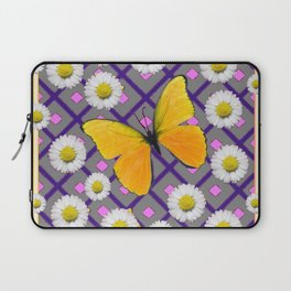 Yellow Butterfly on Black-grey Shasta Daisy Abstract Pattern Laptop Sleeve