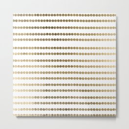 Elegant faux gold white modern minimal polka dots stripes Metal Print