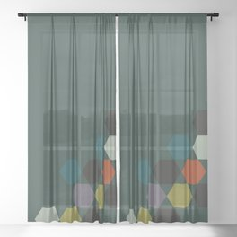 cluster || green night Sheer Curtain