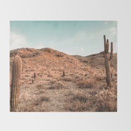 Saguaro Mountain // Vintage Desert Landscape Cactus Photography Teal Blue Sky Southwestern Style Throw Blanket