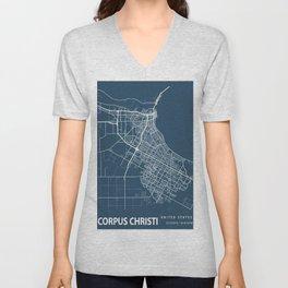 Corpus Christi Blueprint Street Map, Corpus Christi Colour Map Prints Unisex V-Neck