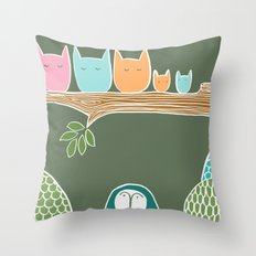 Sleepy Birds Throw Pillow