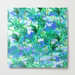 Palm Tree Blue Green Metal Print