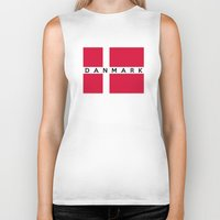 denmark Biker Tanks featuring denmark country flag danmark name text by tony tudor