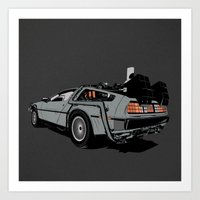 delorean Art Prints featuring DeLorean by CranioDsgn
