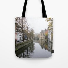 Brugge in the mist Tote Bag