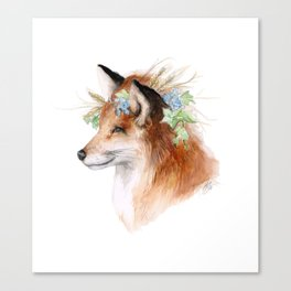 Flower Crowned Fox Canvas Print