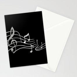 Silver Metallic Music Symbols Stationery Cards