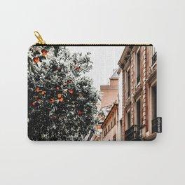 Barcelona City Street Print, Orange Fruit Trees Print, Oranges Fruits Art Print, Urban Photography, Summer Travel Tropical Print Carry-All Pouch