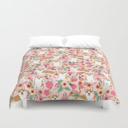 Corgi Florals - vintage corgi and florals gift gifts for dog lovers, corgi clothing, corgi decor, Duvet Cover
