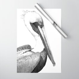 Black and White Pelican Wrapping Paper