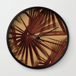 Burgundy and Coffee Tropical Beach Palm Vector Wall Clock