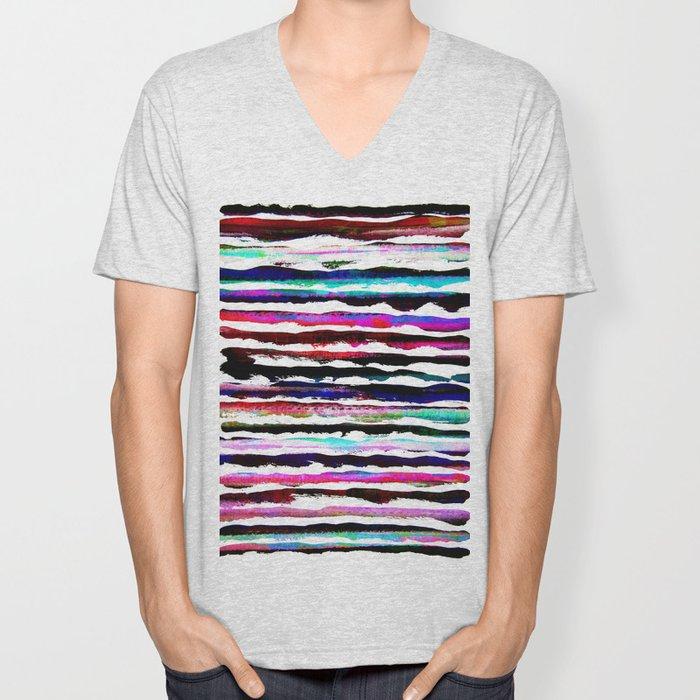 colorful brush strokes design Unisex V-Neck