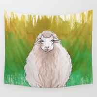 sheep Wall Tapestries featuring Sheep by Lore Illustration