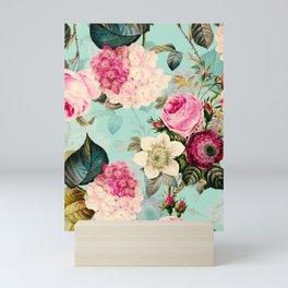 Vintage & Shabby Chic - Summer Teal Roses Flower Garden Mini Art Print