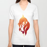 freeminds V-neck T-shirts featuring Fire Fox by Freeminds