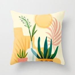 Sunshine Terrace - landscape illustration Throw Pillow