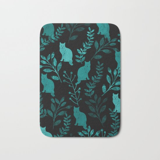 Watercolor Floral and Cat IV Bath Mat