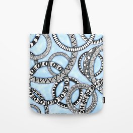 Black and White Zendoodle Rings on Blue  Tote Bag