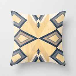 >> Blue Tribal on Wood >> Throw Pillow