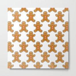 Gingerbread Man Pattern Metal Print