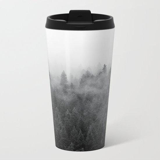 Black and White Mist Metal Travel Mug