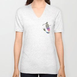 mermaid with a braid holding a spear Unisex V-Neck