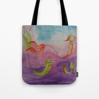 swimming Tote Bags featuring Swimming by Esmeralda Snaphaan