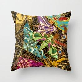 Hawk moths (dark) Throw Pillow