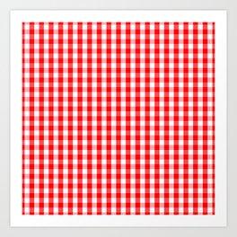 Large Christmas Red and White Gingham Check Plaid Kunstdrucke