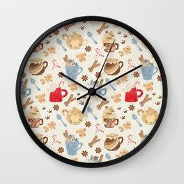 not so jolly kitty cup pattern (beige) Wall Clock