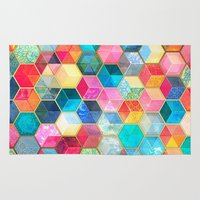 hexagon Area & Throw Rugs featuring Crystal Bohemian Honeycomb Cubes - colorful hexagon pattern  by micklyn