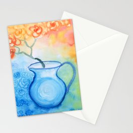 Cherry flowers in the blue jug Stationery Cards