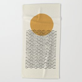 Ocean wave gold sunrise - mid century style Beach Towel